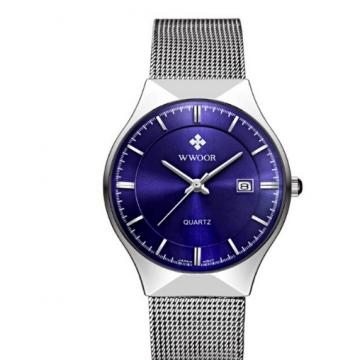 WWOOR Top Luxury Watch Men Brand Men's Watches Ultra  Stainless Steel Mesh Band Quartz Wristwatch blue one size