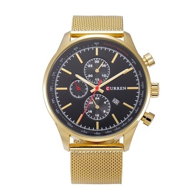 Men's Watches  Sports quartz-watch stainless steel meshMulti-function Wristwatch Chronograph gold balck one size