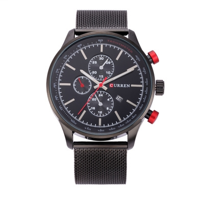 Men's Watches  Sports quartz-watch stainless steel meshMulti-function Wristwatch Chronograph black one size