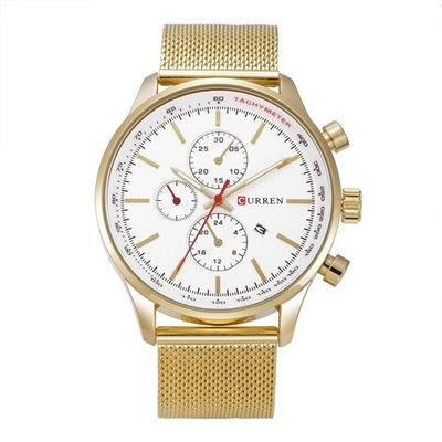 Men's Watches  Sports quartz-watch stainless steel meshMulti-function Wristwatch Chronograph gold white one size
