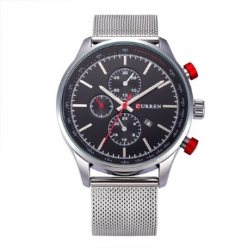 Men's Watches  Sports quartz-watch stainless steel meshMulti-function Wristwatch Chronograph silver black one size