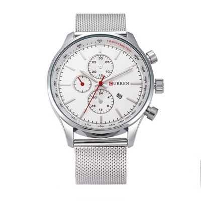 Men's Watches  Sports quartz-watch stainless steel meshMulti-function Wristwatch Chronograph silver white one size