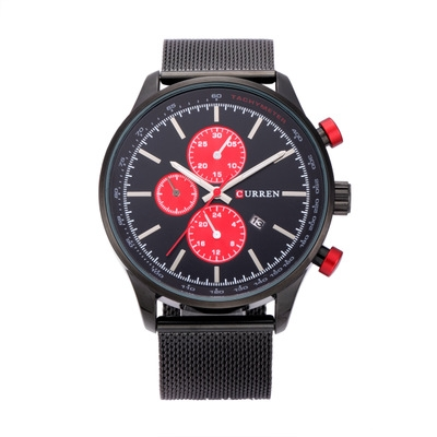 Men's Watches  Sports quartz-watch stainless steel meshMulti-function Wristwatch Chronograph black red one size