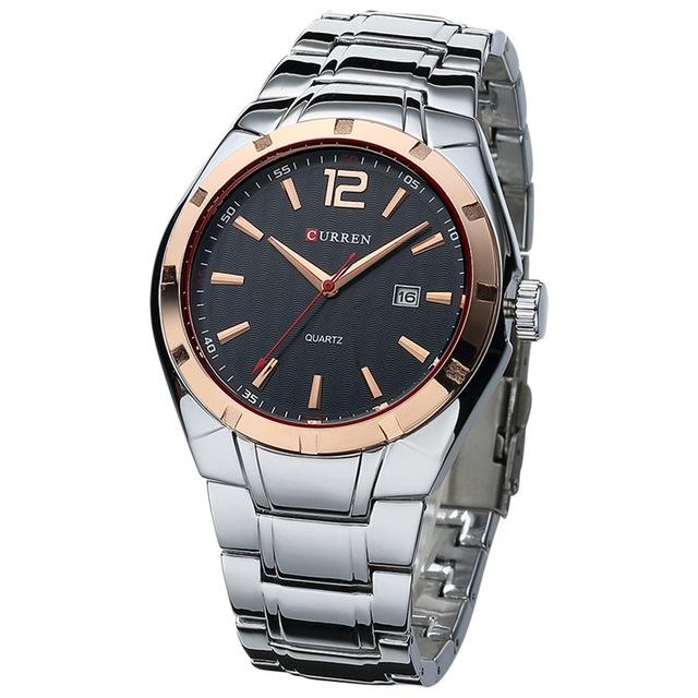 Men Watches Top Brand Luxury Stainless Steel Strap Wrist Watches Sports Watch Waterproof Relogio gold balck one size