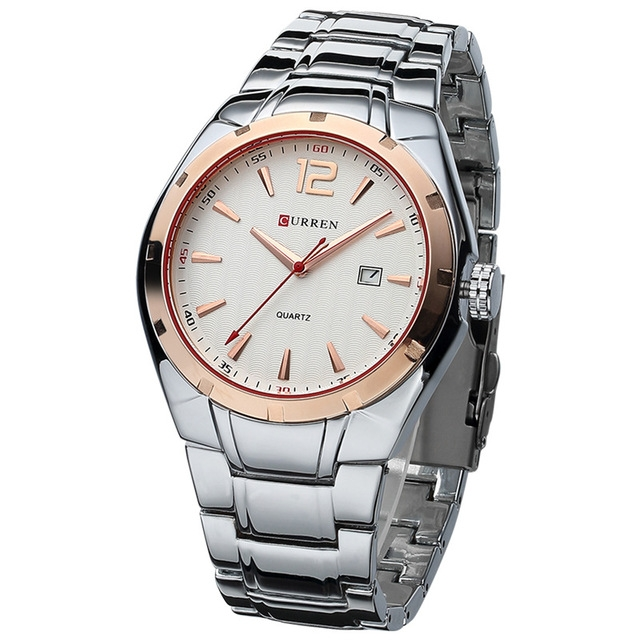 Men Watches Top Brand Luxury Stainless Steel Strap Wrist Watches Sports Watch Waterproof Relogio gold white one size