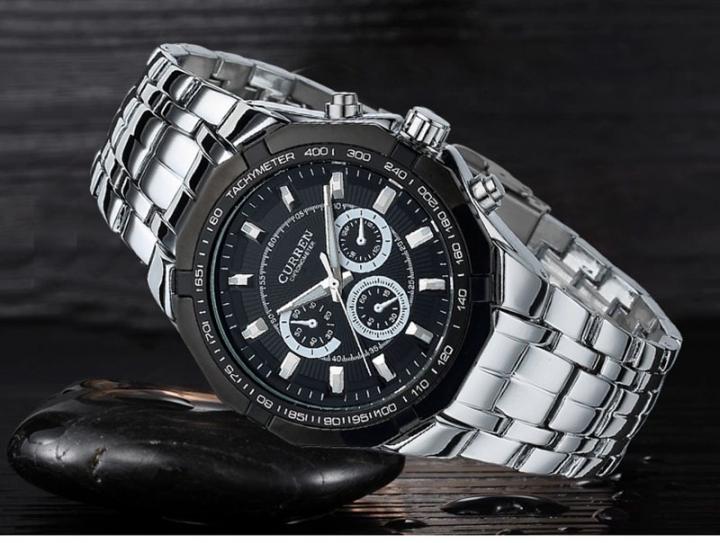 Men Business Watch Clock Curren Mens Watches Military Full Stainless Steel Quartz Wrist Watch black one size