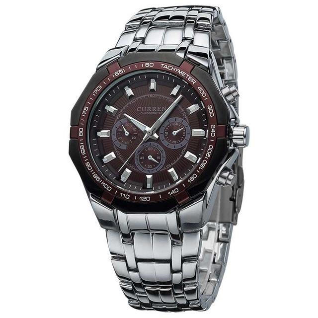 Men Business Watch Clock Curren Mens Watches Military Full Stainless Steel Quartz Wrist Watch brown one size