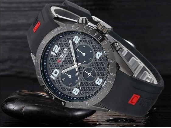 Men Sports Watches Silicone Men Quartz Military Army Wristwatches,Sub-dial Decor Relogio Masculino black one size