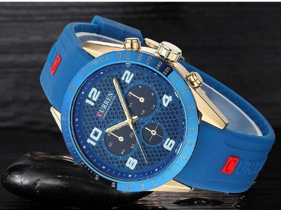 Men Sports Watches Silicone Men Quartz Military Army Wristwatches,Sub-dial Decor Relogio Masculino blue one size