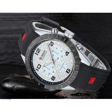 Men Sports Watches Silicone Men Quartz Military Army Wristwatches,Sub-dial Decor Relogio Masculino silver white one size