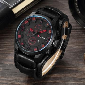 Men's Casual Sport Quartz Watch Mens Watches Top Brand Luxury Quartz-Watch Leather Strap red one size