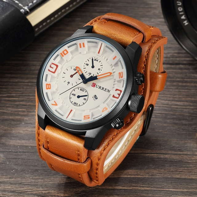 Men's Casual Sport Quartz Watch Mens Watches Top Brand Luxury Quartz-Watch Leather Strap yellow one size