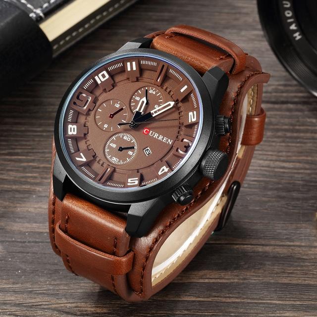 Men's Casual Sport Quartz Watch Mens Watches Top Brand Luxury Quartz-Watch Leather Strap brown one size