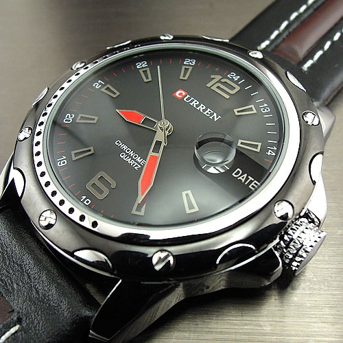 Watches Men Fashion Casual Quartz Hour Date Clock Leather Strap Man Sports Wristwatch Relogio black one size