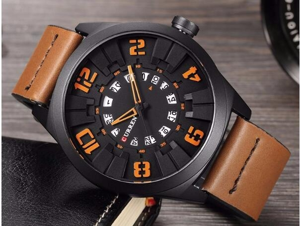 Military Sport Quartz watch Men Fashion Casual Army Top Brand Luxury Leather Quartz-Watch Male Clock yellow one size