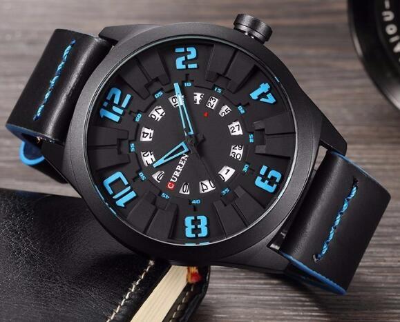 Military Sport Quartz watch Men Fashion Casual Army Top Brand Luxury Leather Quartz-Watch Male Clock blue one size