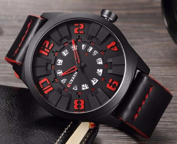 Military Sport Quartz watch Men Fashion Casual Army Top Brand Luxury Leather Quartz-Watch Male Clock red one size