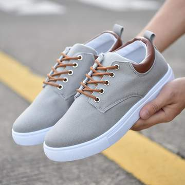 rComfortable Casual Shoes Mens Canvas Shoes For Men Lace-Up Brand Fashion Flat Loafers Shoe gray 43