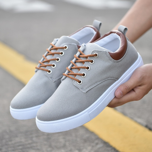 rComfortable Casual Shoes Mens Canvas Shoes For Men Lace-Up Brand Fashion Flat Loafers Shoe gray 42