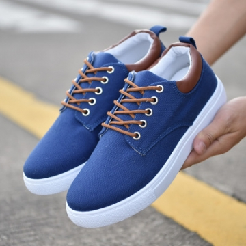 rComfortable Casual Shoes Mens Canvas Shoes For Men Lace-Up Brand Fashion Flat Loafers Shoe blue 42