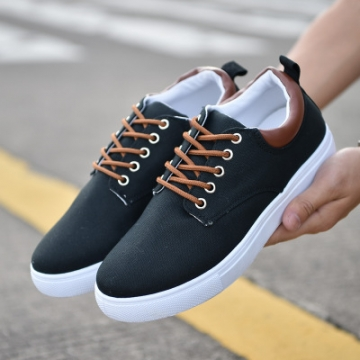 rComfortable Casual Shoes Mens Canvas Shoes For Men Lace-Up Brand Fashion Flat Loafers Shoe black 40