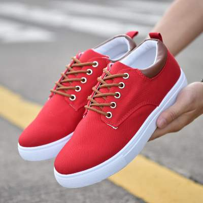 rComfortable Casual Shoes Mens Canvas Shoes For Men Lace-Up Brand Fashion Flat Loafers Shoe red 40