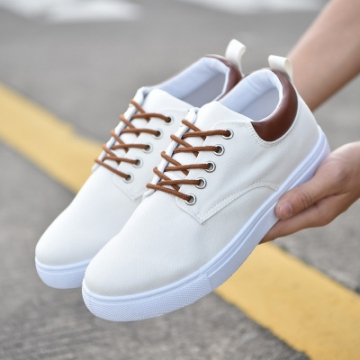 rComfortable Casual Shoes Mens Canvas Shoes For Men Lace-Up Brand Fashion Flat Loafers Shoe white 39