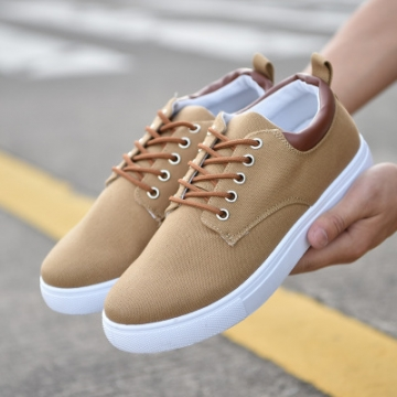 rComfortable Casual Shoes Mens Canvas Shoes For Men Lace-Up Brand Fashion Flat Loafers Shoe hkaki 45