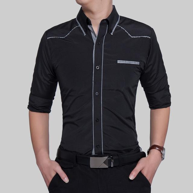 Fashion Male Shirt Long-Sleeves Tops Oversize British Style Casual Shirt Mens Dress Shirts Slim black 2xl