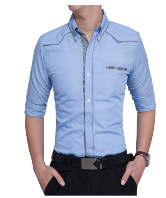 Fashion Male Shirt Long-Sleeves Tops Oversize British Style Casual Shirt Mens Dress Shirts Slim sky blue l