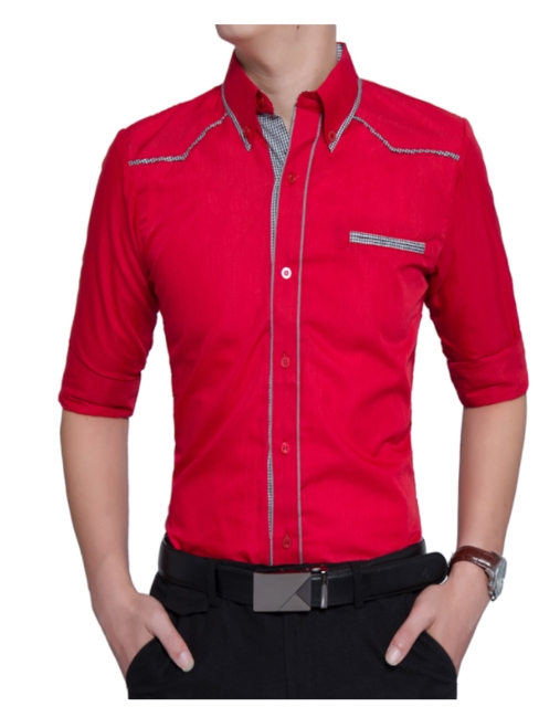 Fashion Male Shirt Long-Sleeves Tops Oversize British Style Casual Shirt Mens Dress Shirts Slim red 3xl