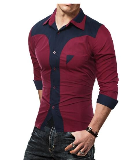 Fashion Male Shirt Long-Sleeves Tops Fashion Youth Hit Color Mens Dress Shirts Slim Men Shirt wine  red m