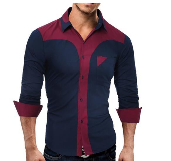 Fashion Male Shirt Long-Sleeves Tops Fashion Youth Hit Color Mens Dress Shirts Slim Men Shirt dark blue l