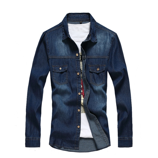 Men Denim Shirt Brand Clothing Cotton Long Sleeve Jeans Shirt Male Casual Dress Shirts Camisa Social blue l