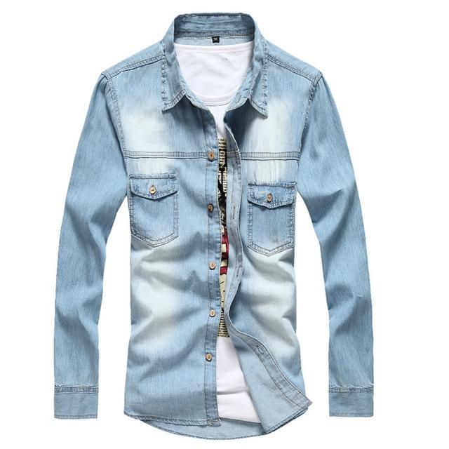 Men Denim Shirt Brand Clothing Cotton Long Sleeve Jeans Shirt Male Casual Dress Shirts Camisa Social sky blue 2xl