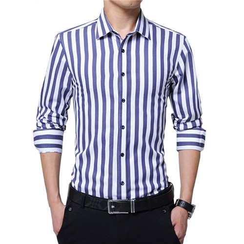 Striped Men Shirt Long Sleeve New Arrival Casual Male Brand Clothing Chemise Homme Plus Size dark blue 2xl