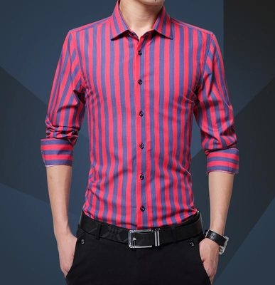 Striped Men Shirt Long Sleeve New Arrival Casual Male Brand Clothing Chemise Homme Plus Size red 2xl