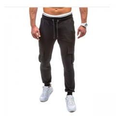 Men Fitness Bodybuilding Gyms Pants For Casual Sweatpants Solid Soft Cotton Casual Straight black m