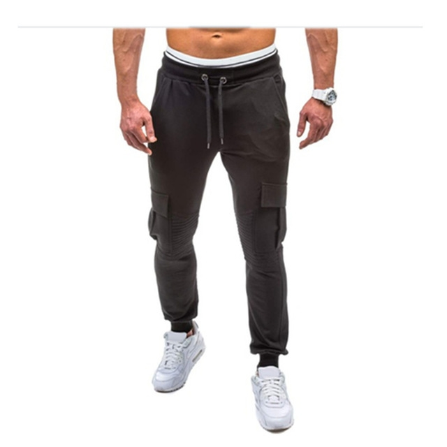 Men Fitness Bodybuilding Gyms Pants For Casual Sweatpants Solid Soft Cotton Casual Straight black 3xl