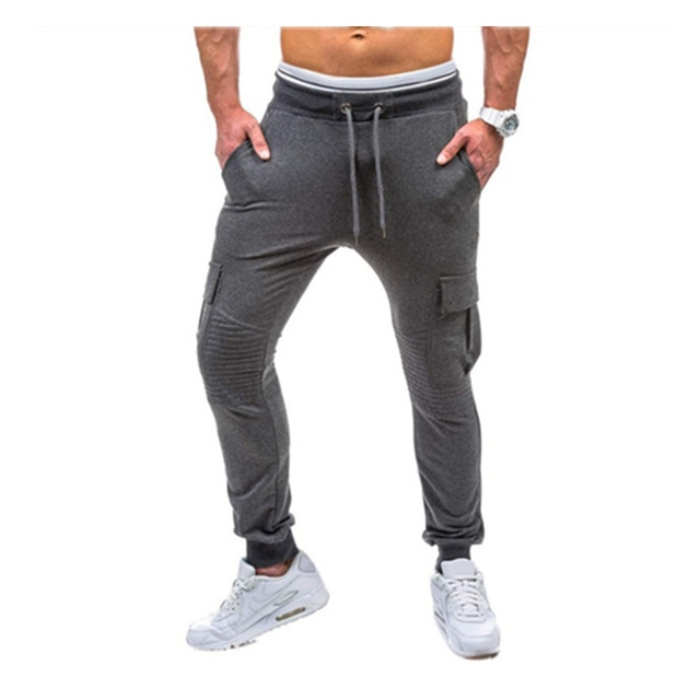 Men Fitness Bodybuilding Gyms Pants For Casual Sweatpants Solid Soft Cotton Casual Straight gray xl