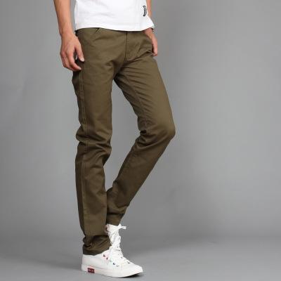 Men Brand Khaki Pants Slim Taper Trousers Cotton Casual Modern Pantalones Hombre Social Masculina green 35