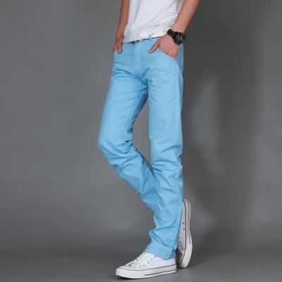 Men Brand Khaki Pants Slim Taper Trousers Cotton Casual Modern Pantalones Hombre Social Masculina sky blue 36
