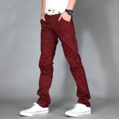 Men Brand Khaki Pants Slim Taper Trousers Cotton Casual Modern Pantalones Hombre Social Masculina wine red 33