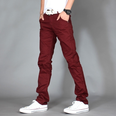 Men Brand Khaki Pants Slim Taper Trousers Cotton Casual Modern Pantalones Hombre Social Masculina wine red 35