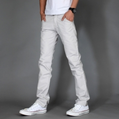 Men Brand Khaki Pants Slim Taper Trousers Cotton Casual Modern Pantalones Hombre Social Masculina white 30