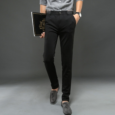 High Cotton Men Pants Straight    Long Male Classic Business Casual Trousers Full Length black 34