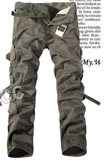 man Military Army Camouflage Cargo Pants Plus Size Multi-pocket Overalls Casual Baggy Camouflage army  green 30