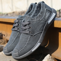 Canvas Men Shoes Denim Lace-Up Men Casual Shoes Plimsolls Breathable Male Footwear Spring Autumn gray 44