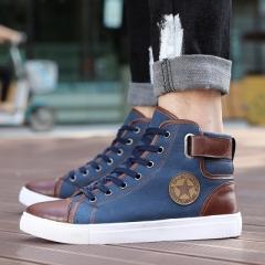 Shoes Men Casual Shoes Fashion High Top Men High Pipe Retro Comfortable Men's Flat Shoes blue 39