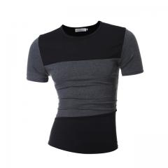 New Fashion Brand Men Clothes Short Sleeve Slim Fit T Shirt Mens T-Shirt Casual Male T Shirts black m